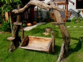 Garden swing made of wood