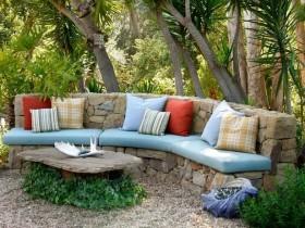 Garden bench natural stone