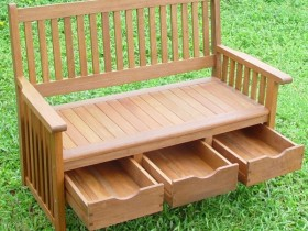 Wooden bench with drawers