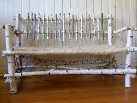 Garden bench made of birch