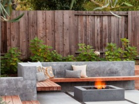 Garden bench in retaining wall