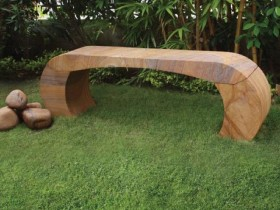The interesting design of the benches in the garden