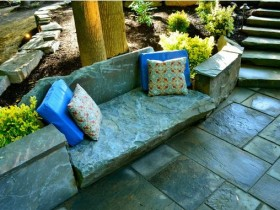 A stone bench in the garden