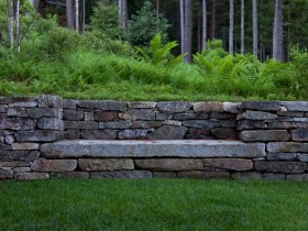 Bench in retaining wall