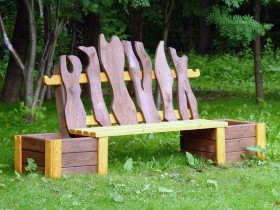 Garden bench with planters for flowers