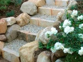 Stairs in a garden of stone and gravel