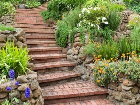 Brick stairs in the garden