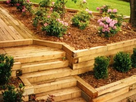 Garden stairs made of profiled timber