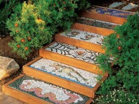Garden stairs with creative mosaic