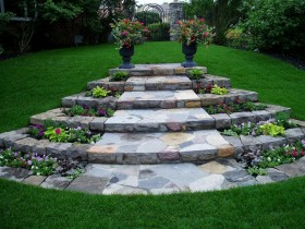 Garden stairs made of natural stone