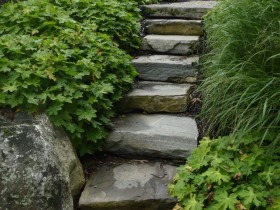 Garden stairs made of stone blocks