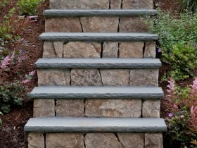 Improvised stairs in the garden of stone