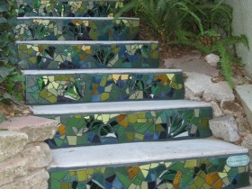 Garden staircase with mosaic