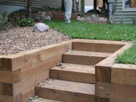 Garden stairs made of timber