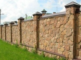 Fence made from natural stone
