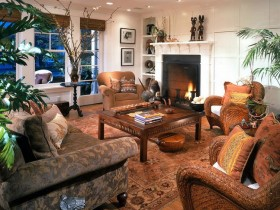 Living room with fireplace in the style of Safari