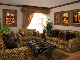 Unusual living room in the style of Safari