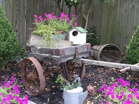 Wheelbarrow as a flower bed