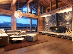 Modern living room with fireplace, Chalet-style