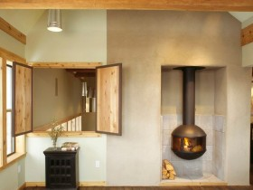 Room with wood-burning fireplace, Chalet-style
