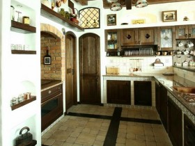The bright kitchen in the style Chalet