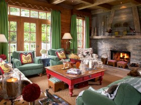 Interesting living room design in Chalet style