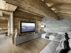 Decoration living room with stone and wood
