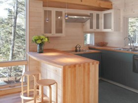 Small kitchen in wooden finish