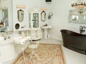 Bathroom in shabby chic style bathroom with black