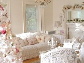 Luxury white living room, the shabby chic style
