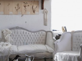 White furniture in a living room shabby chic