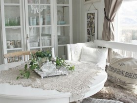 The interior of white dining room in shabby chic style