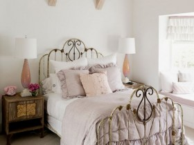 White bedroom in shabby chic style