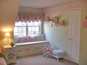 The interior of the nursery for the girl in the shabby chic style