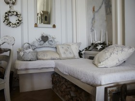 Soft sofa in the shabby chic style