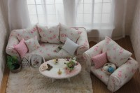 Beautiful furniture in the living room, the shabby chic style