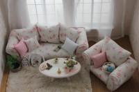 Красивая мебель в гостиной, стиль шебби шик