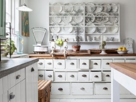 Beautiful white kitchen in the style of shabby chic