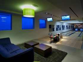 Private bowling alley in modern house