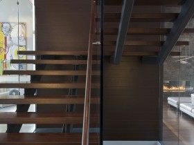 Modern design wooden stairs in the cottage