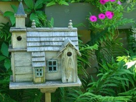 Wooden birdhouse for the birds