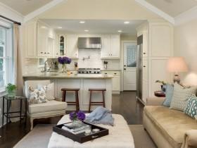 Маленькая светлая кухня, совмещенная с гостиной