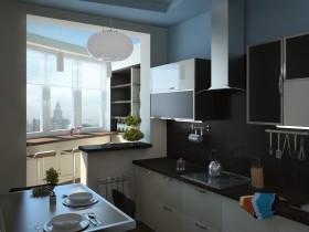 Темная кухня, совмещенная с балконом