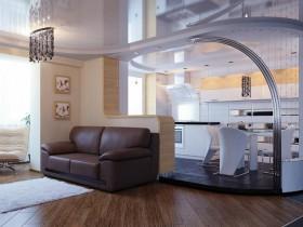 Красивая современная кухня, совмещенная с гостиной