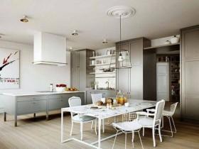 Современная кухня, совмещенная со столовой