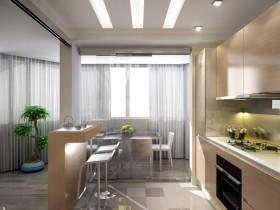 Совмещенная кухня, современный стиль