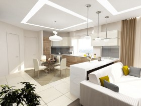 Bright living room, combined with kitchen and dining room