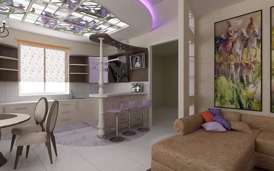 Дизайн гостиной совмещенной с кухней фото в квартире