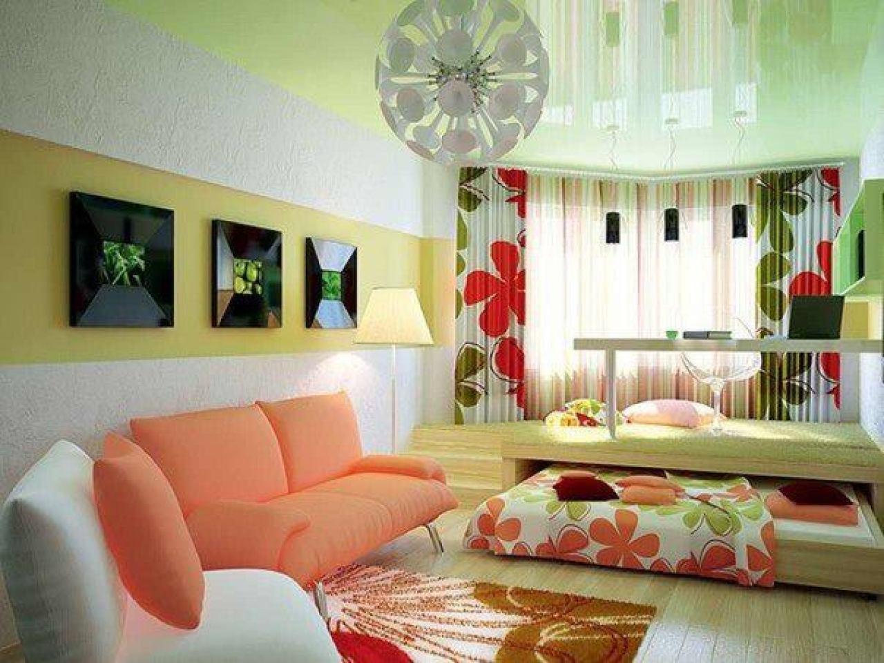 Красивый интерьер гостиной совмещенной с кухней