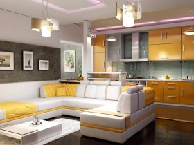 Modern living room, kitchen